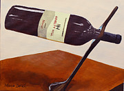 Wine Bottle Paintings - Wine Bottle Holder by Marion Derrett