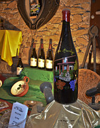 Beaujolais Photo Prints - Wine Bottle on Display Print by Allen Sheffield