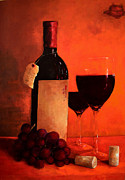 Wine Glasses Painting Originals - Wine Bottle  by Patricia Awapara