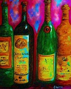 Pinot Mixed Media Framed Prints - Wine Bottle Quartet on a Blue Patched Wall Framed Print by Eloise Schneider