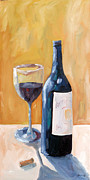 Blue Grapes Painting Posters - Wine Bottle Still Life Poster by Todd Bandy