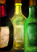 Green And Red Colored Paintings - Wine Bottle Trio by Christine Fanous