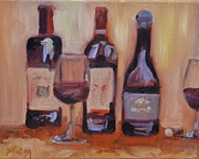 Red Wine Paintings - Wine Bottle Trio by Donna Tuten