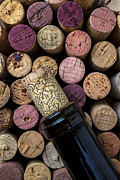 Corks Prints - Wine bottle with corks Print by Garry Gay