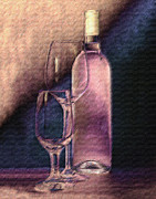 Wine Bottle Art Posters - Wine Bottle with Glasses Poster by Tom Mc Nemar