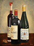 Red Wine Paintings - Wine Bottles by Ambika Jhunjhunwala