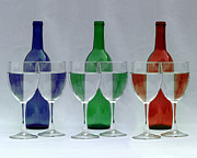 Wine Glasses Photos - Wine Bottles and Glasses Illusion by Jack Schultz