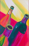 Trio Painting Posters - Wine Bottles Poster by Debi Pople