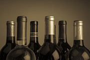 Cellar Posters - Wine Bottles Poster by Diane Diederich