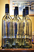 Neck Prints - Wine bottles Print by Elena Elisseeva