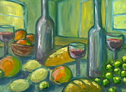 Wine Glasses Painting Originals - Wine Bread and Fruit by Linda Rhea