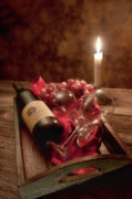 Wine-bottle Prints - Wine by Candle Light I Print by Tom Mc Nemar