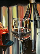 Wine Art - Wine by Candlelight by Anthony Mezza