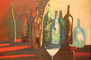 Wine Glasses Painting Originals - Wine Cellar by Lynn Beazley Blair