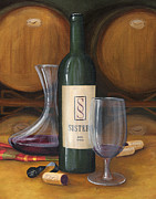 Wine Bottle Paintings - Wine Cellar Still Life by  Kathy Jackson