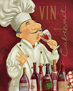 Waiter Mixed Media Metal Prints - Wine Chef I Metal Print by Shari Warren