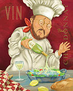 Waiter Mixed Media Metal Prints - Wine Chef III Metal Print by Shari Warren