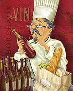 Waiter Mixed Media Metal Prints - Wine Chef IV Metal Print by Shari Warren