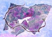 Blue Grapes Mixed Media Prints - Wine Country Print by Asha Carolyn Young