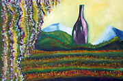 Wine Bottle Paintings - Wine Country by Donna Blackhall