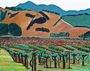 Grapevines Painting Originals - Wine Country  by Kathleen Fitzpatrick