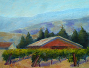 Napa Valley Vineyard Paintings - Wine Country View by Carolyn Jarvis