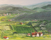 Italian Wine Paintings - Wine District by Susan Bruner