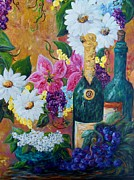French Paintings - Wine Flowers and Grapes by Eloise Schneider