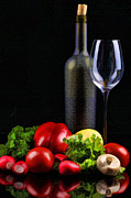 Wine Illustrations Digital Art Prints - Wine for a Salad Print by Elaine Plesser