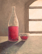 Wine Bottle Paintings - Wine for One by Douglas Case