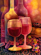 Hailey E Herrera Posters - Wine for Two Poster by Hailey E Herrera