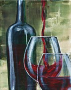 Malbec Paintings - Wine for two by Lisa Owen-Lynch
