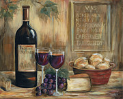 Red Wine Bottle Painting Posters - Wine For Two Poster by Marilyn Dunlap