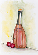 Passion Fruit Painting Prints - Wine from cherries Print by Irina Gromovaja