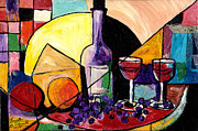 Harlem Mixed Media Prints - Wine Fruit and Cheese for two Print by Everett Spruill