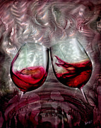 Wine Glass Mixed Media Posters - Wine Glass 2 Poster by Luis  Navarro