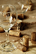 Wine Glass And Corks Print by HD Connelly