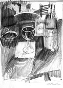 Wine-glass Drawings Prints - Wine Glass Print by Mark Lunde