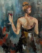 Woman In Black Dress Paintings - Wine Glass by Nicole Roggeman