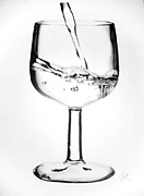 Wine-glass Drawings Prints - Wine Glass of Water Print by Desire Doecette