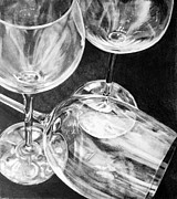 Glass Drawings Framed Prints - Wine Goblets Framed Print by Mark Hufford