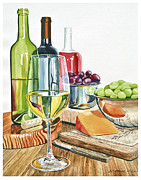 Wood Blocks Paintings - Wine Grapes and Cheese by Rick Mock