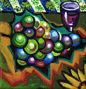 Canvas Wine Prints Painting Prints - Wine Grapes Print by Genevieve Esson