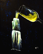 Champagne Paintings - Wine into Waterfall by Kami Catherman