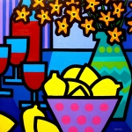 Wine Gallery Art Paintings - Wine Lemons And Flowers by John  Nolan