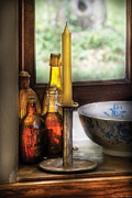 Container Posters - Wine - Nestled in a corner of a window sill  Poster by Mike Savad