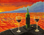 Outdoor Still Life Paintings - Wine on Sunset Terrace by Vicki Maheu