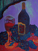 Canvas Wine Prints Framed Prints - Wine  Framed Print by Oscar Penalber