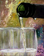 Wine Pour Painting Framed Prints - Wine painting - Pour Framed Print by Katie Phillips