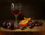 Peaches Painting Prints - Wine Peach and Plums Print by Timothy Jones